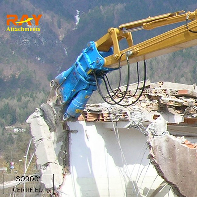 Hydraulic concrete pulveriser and shears for excavator
