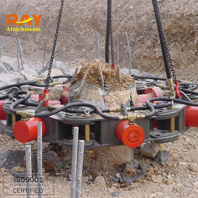 Chinese made hydraulic square concrete pile cutting machine fixed on excavators